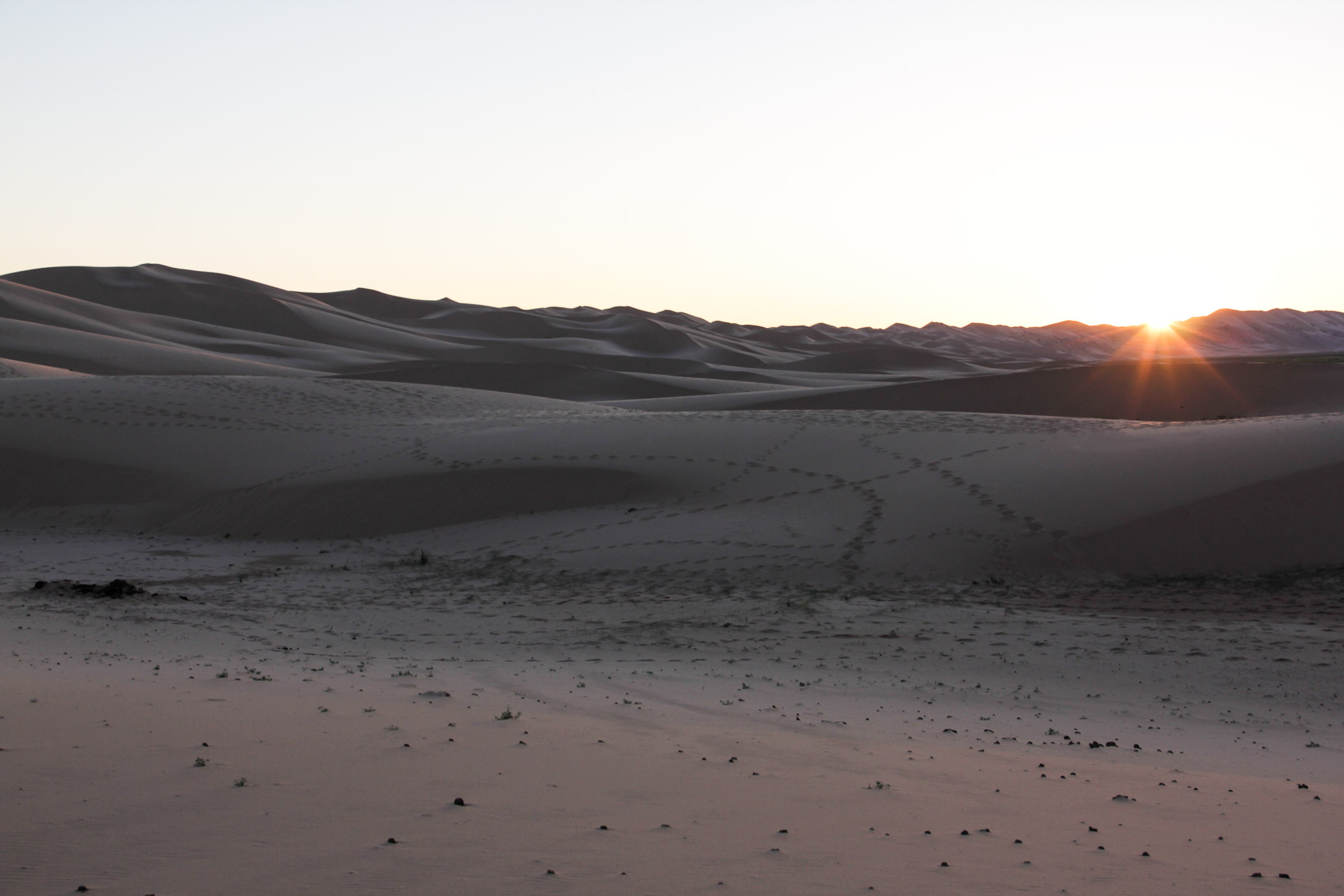 Coucher du soleil sur les Dunes du Gobi