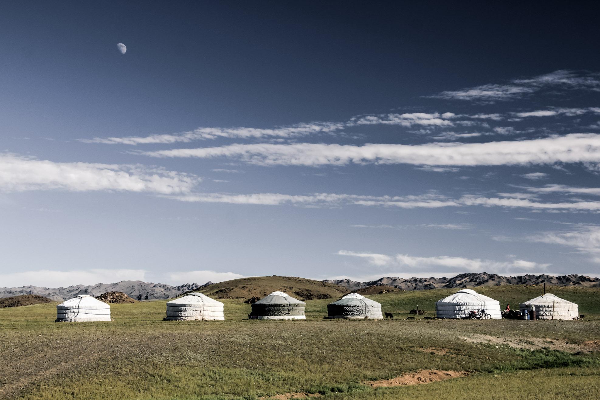 Gobi - des yourtes dans une plaine en Mongolie