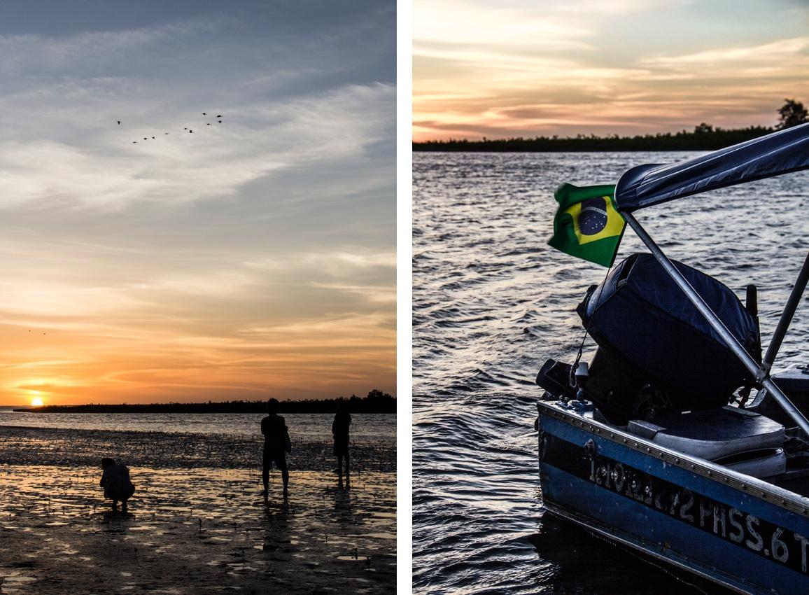 Coucher du soleil sur le fleuve Preguiças. Route des Sensations.