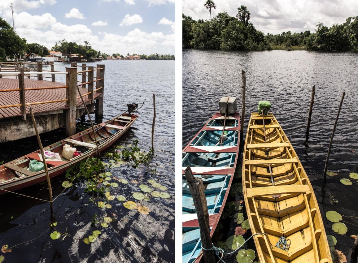 Pirogues de pêcheurs sur le fleuve Preguiças à Barreirinhas. Sur la Route des Sensations.