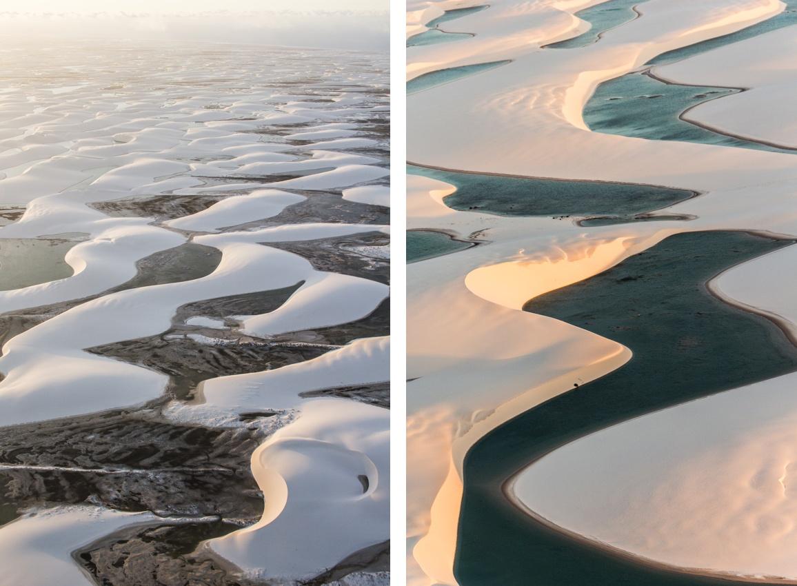 Les dunes et lagunes des Lençóis Maranhenses lors d'un survol au coucher du soleil. Routes des Sensations.