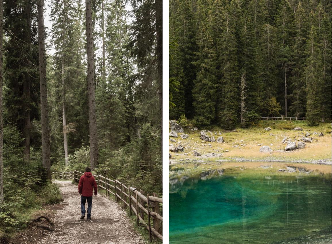 Sentier autour du lac de Carezza dans les Dolomites