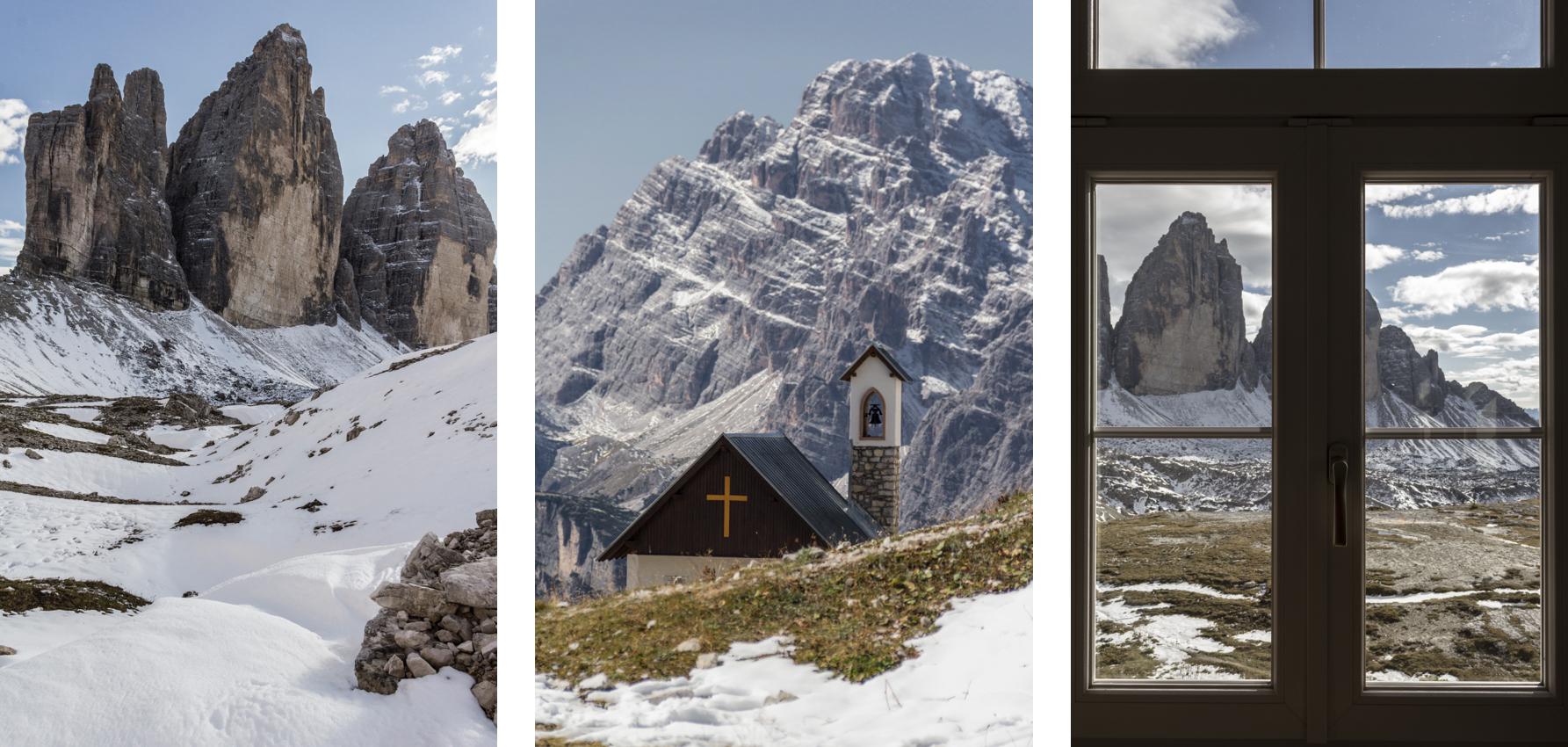 Trois points de vue différents du Parc tre Cime di Lavaredo, dans les Dolomites.
