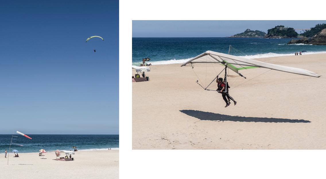 La plage de São Conrado est le seul lieu autorisé pour l'atterrissage des deltaplanes à Rio de Janeiro.