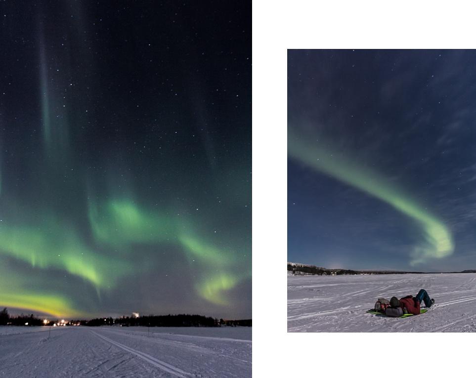 Aurores boreales. Laponie finlandaise.