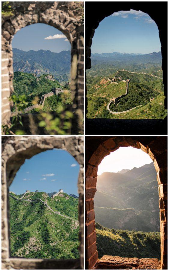 Montage de quatre photos de la Muraille de Chine vue à travers des fenêtres