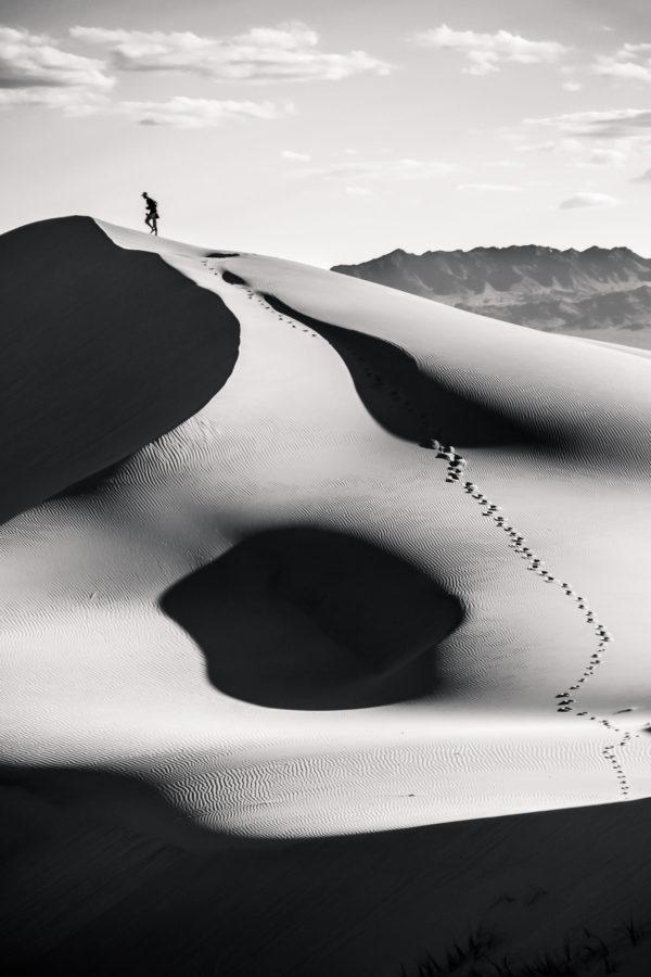 Dunes du Gobi en noir et blanc