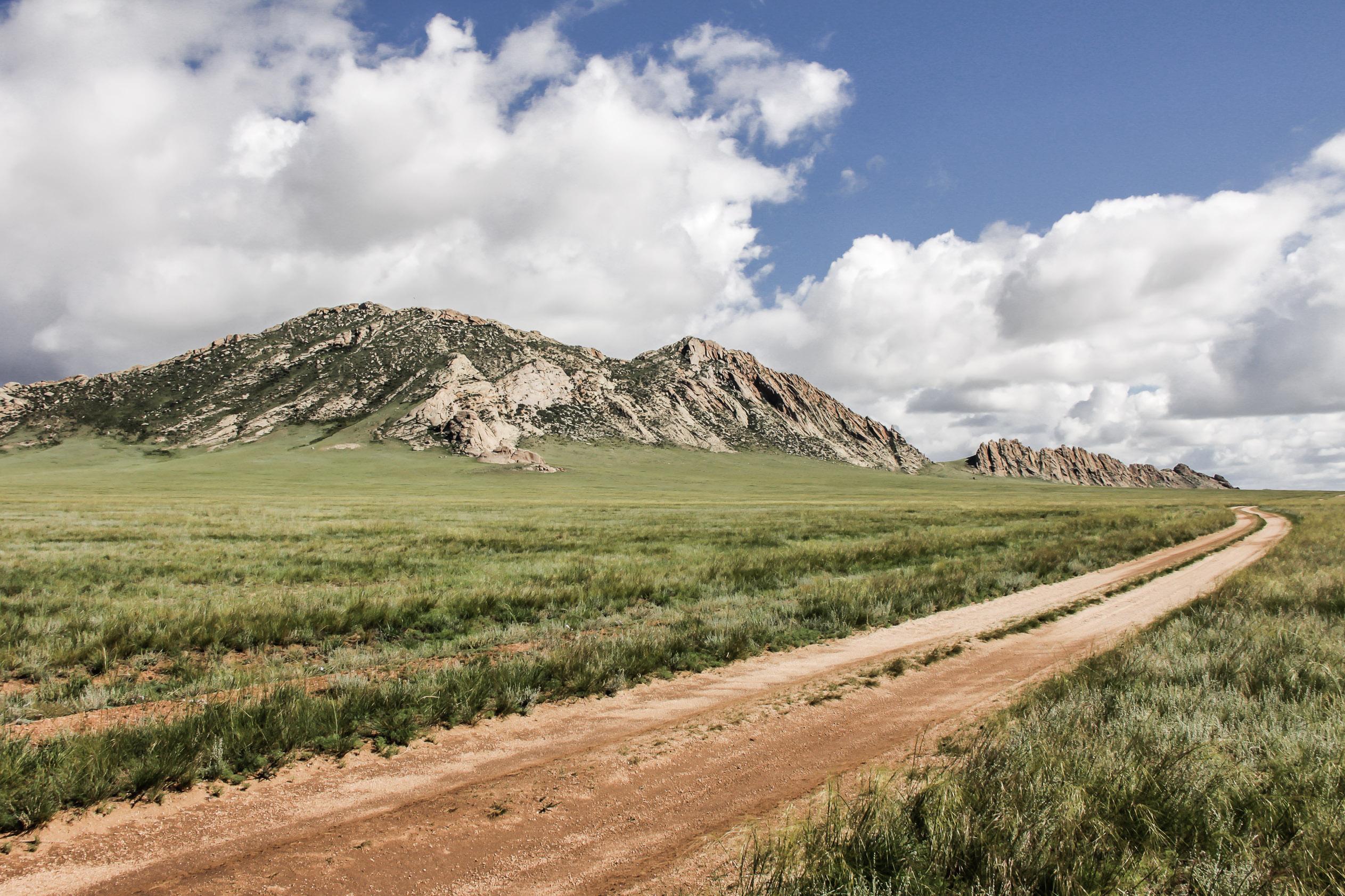 Route en Mongolie