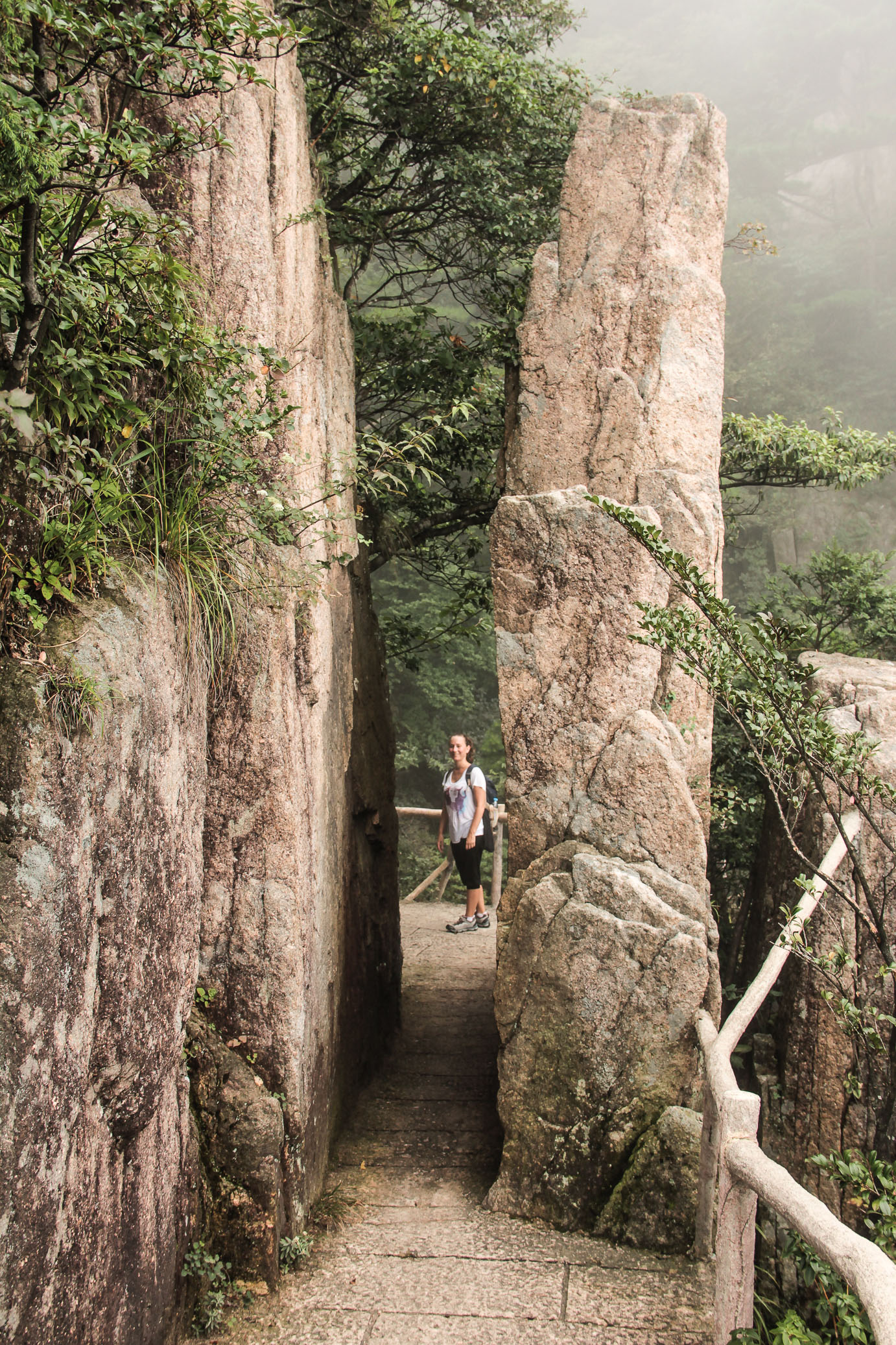 Passage sur la montagne de Huangshan en Chine.