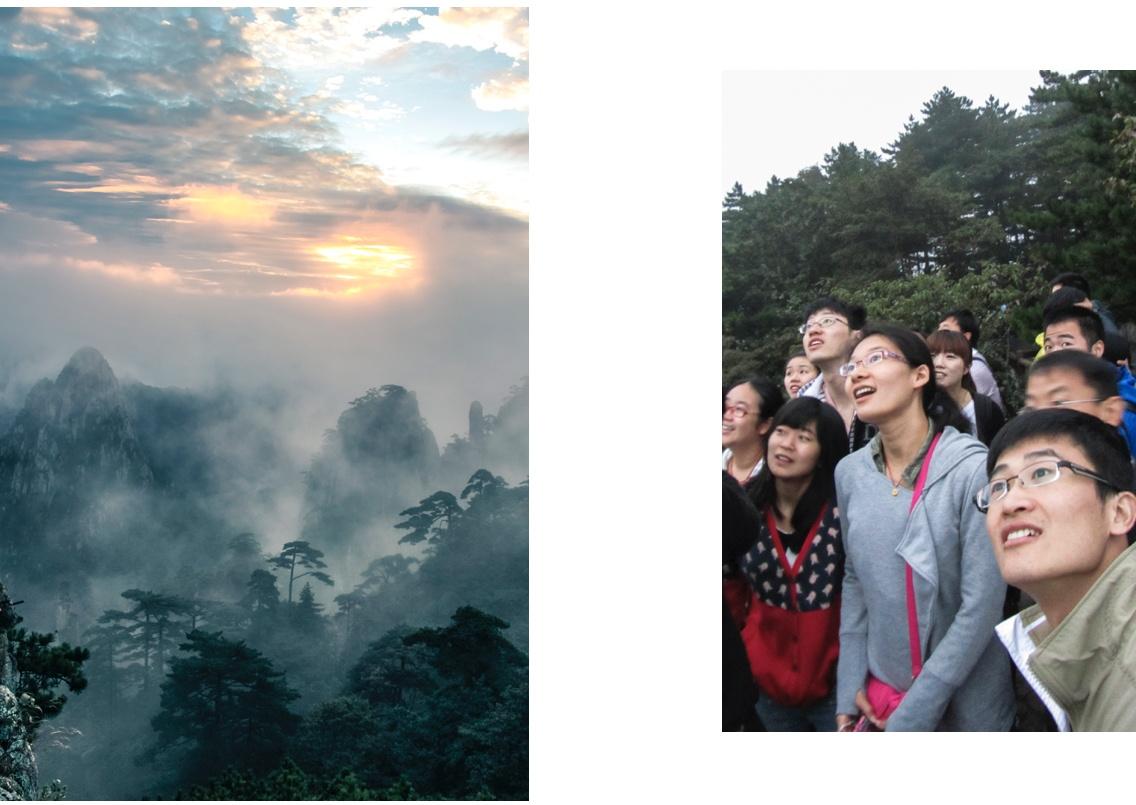 Lever du soleil à Huangshan, Chine