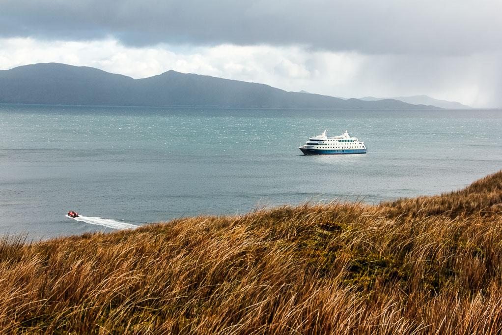 Un zodiac retourne sur le bateau de croisière après la visite de l'île de Horn.