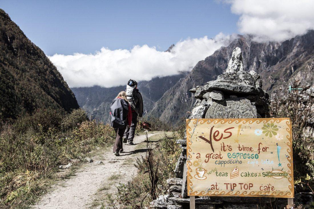 Café sur le trek de Langtang au Népal.