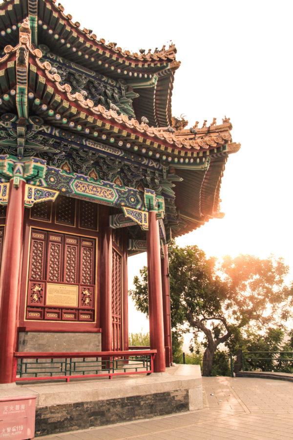Couché du soleil sur le parc Jingshan