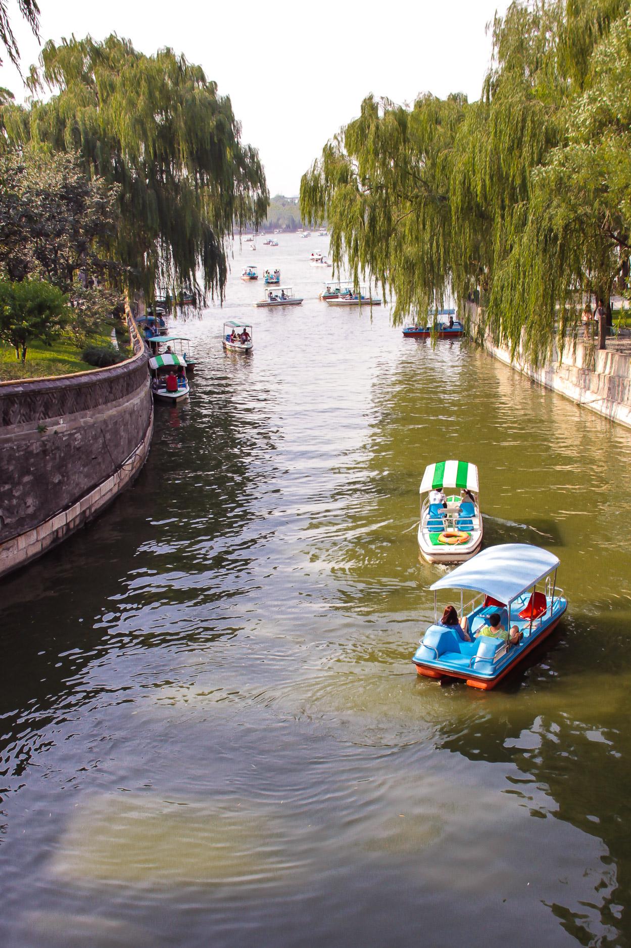 bateaux dur le lac du parc Beihai