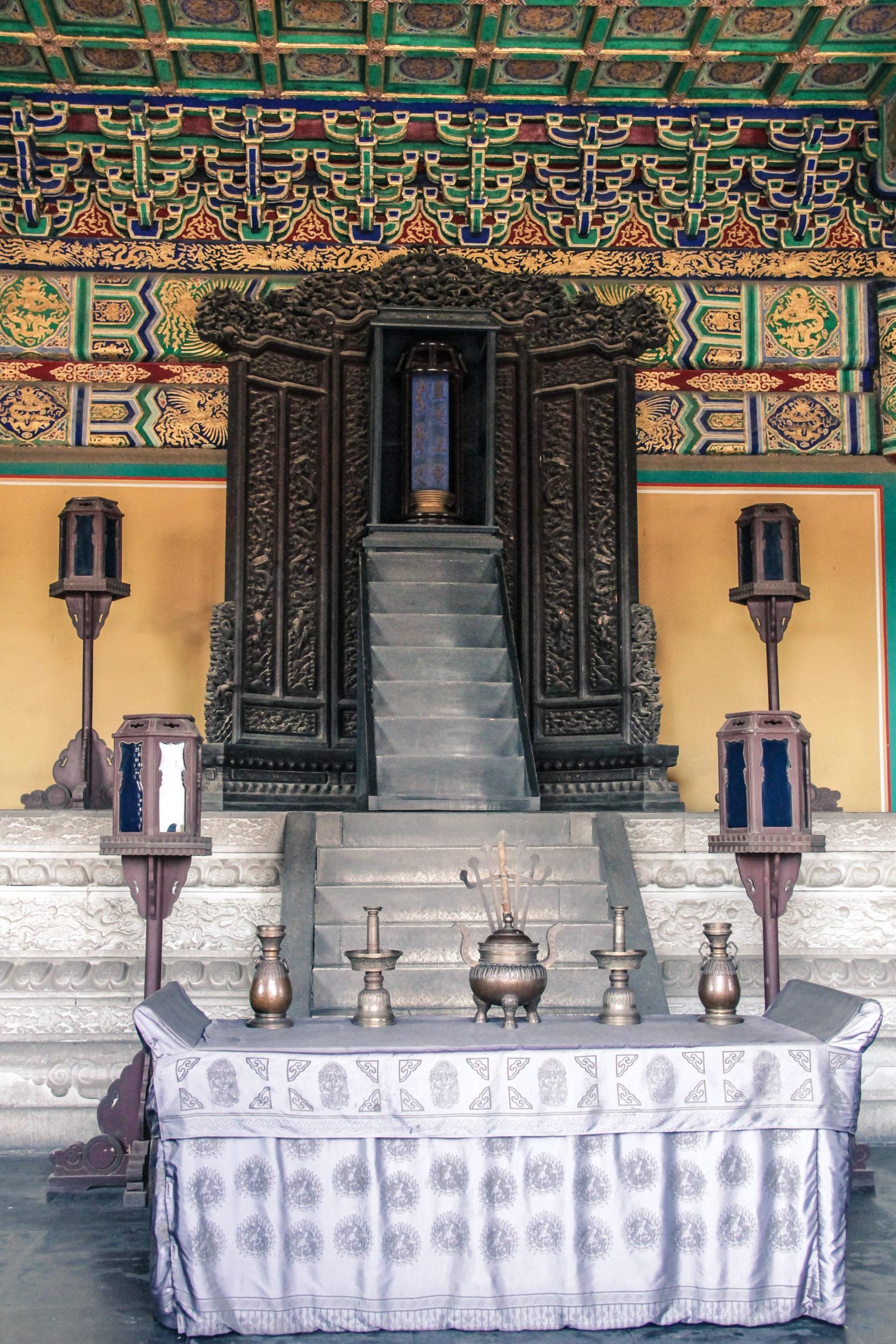 Intérieur d'un temple au temple du Ciel