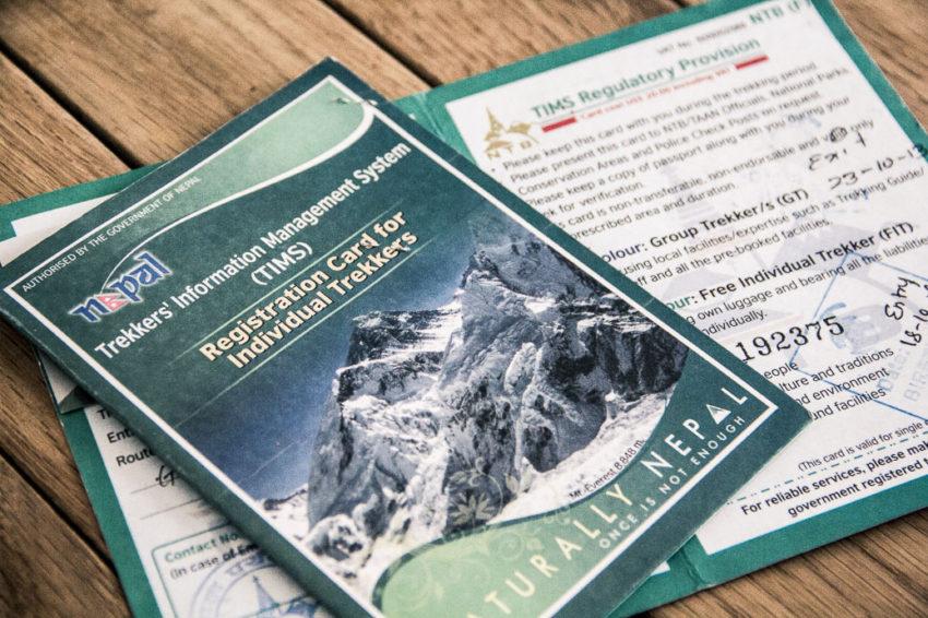 TIMS (Trekkers' Information Management System) pour un trek au Népal
