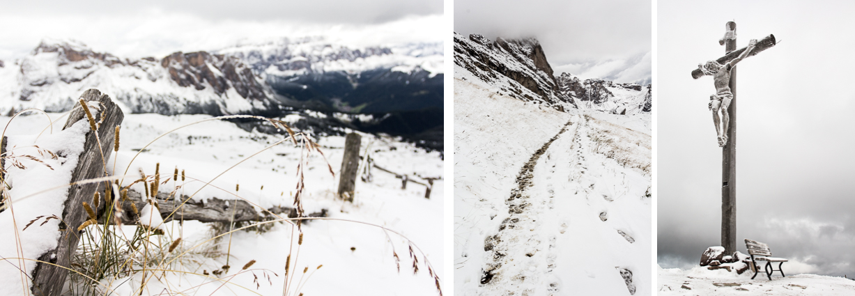 Seceda sous la neige. Dolomites.