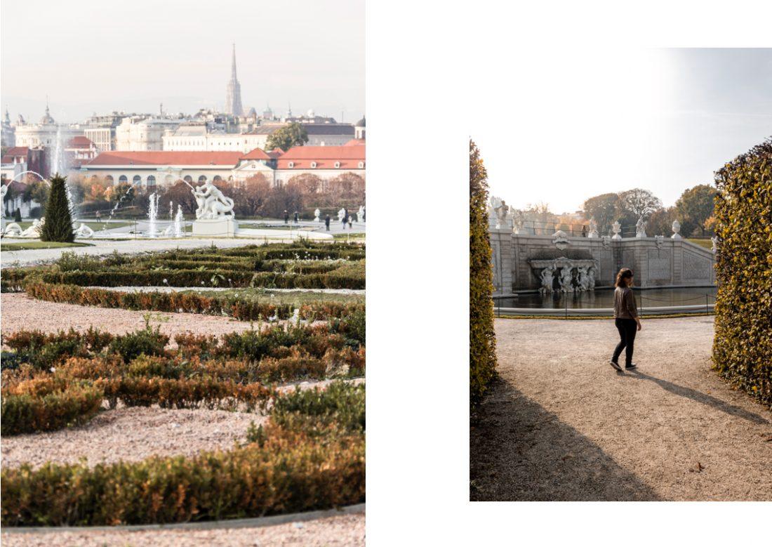 Les couleurs de l'automne dans les jardins du Belvédère à Vienne.