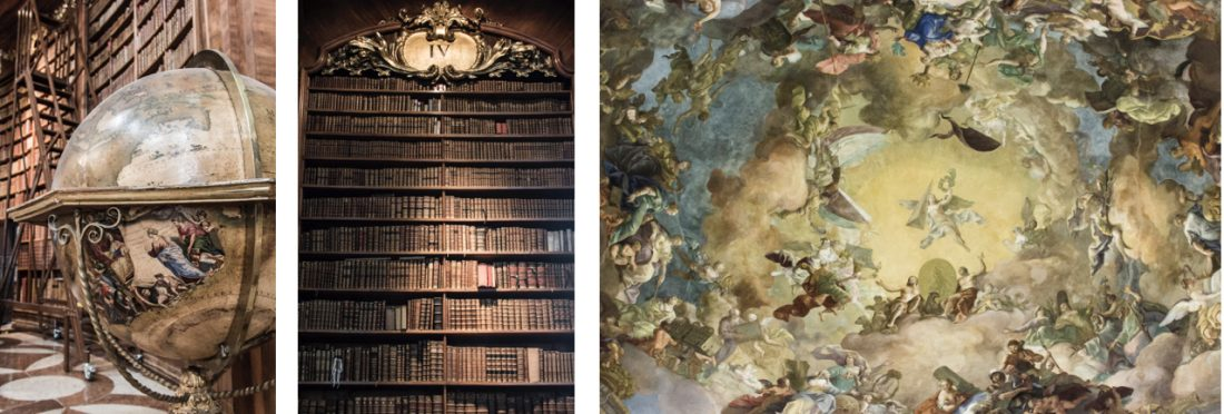 Details de la bibliothèque de Vienne en Autriche.