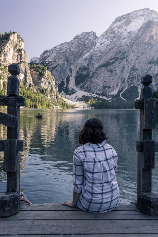 Fin de journée au Lago di Braies, Dolomites.