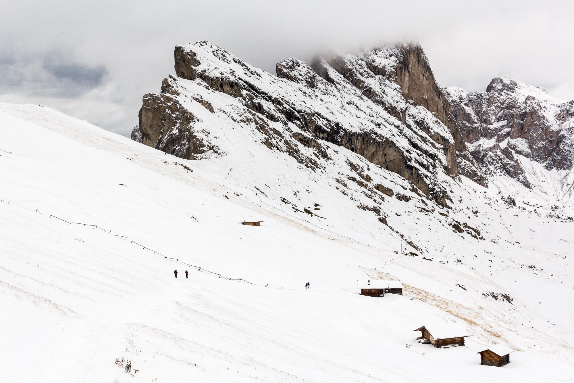 Seceda sous la neige - Dolomites