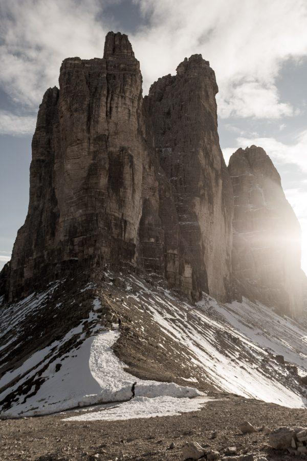 Coucher de soleil au Parc naturel Tre Cime di Lavaredo, Dolomites.