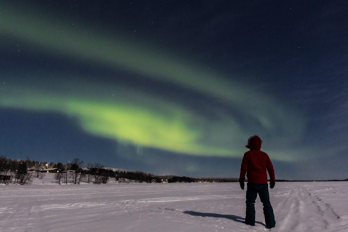 Une aurore boréale en Laponie. Finlande.