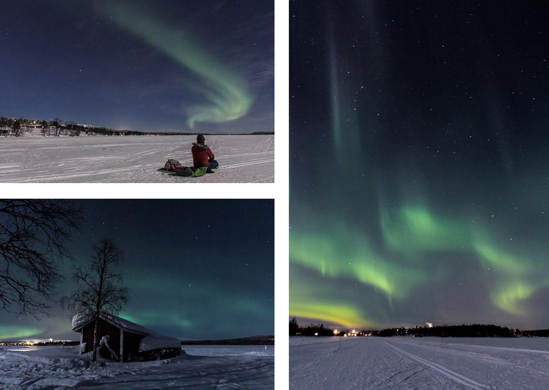 Trois images d'aurores boréales en Laponie finlandaise.