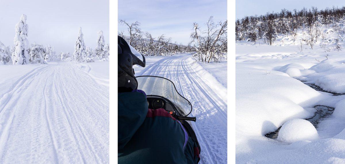 Trois scènes rpises lors d'une balade en motoneige en Laponie.