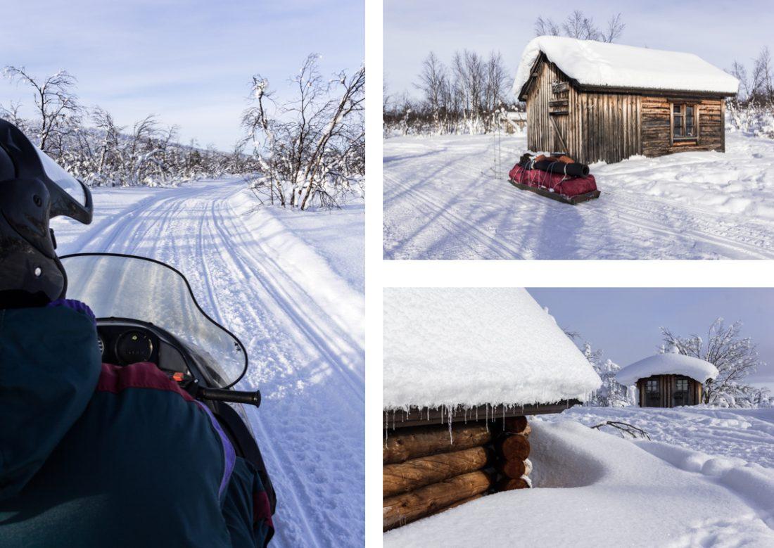 Motoneige et refuges de randonnée à Hetta. Laponie.
