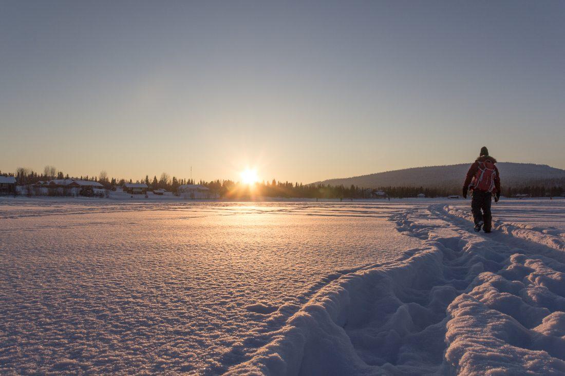 Couché du soleil en Laponie finlandaise.