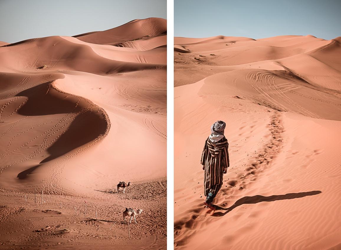 Deux images représentant les dunes de Erg Chebbi au Maroc.