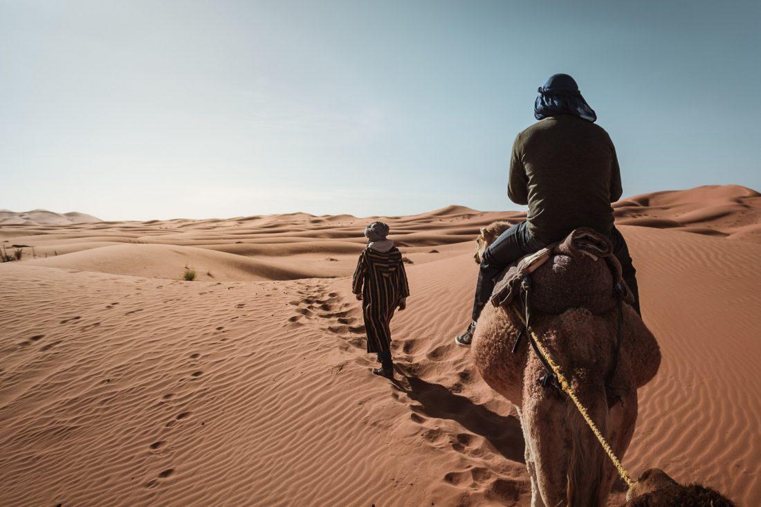 Un homme sur un chameaux est guidé à travers les dunes du désert au Maroc .