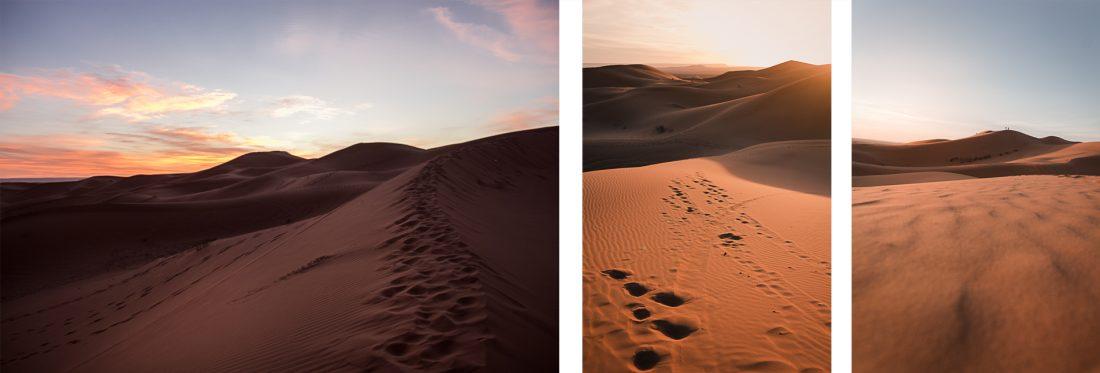 Lever du soleil sur les dunes de Erg Chebbi au Maroc.